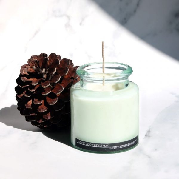 Home for Christmas Candle, Pine cone, glass jar, long wick
