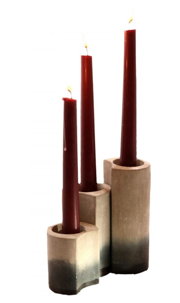 Set 3 candle sticks, 3 concrete candle sticks with red display candle